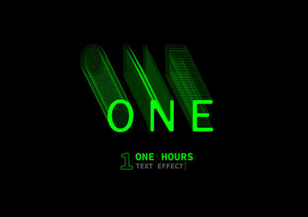 """vector graphic of """"one hours"""" text effect vector, text with light and line effect, one hour, perfect for digital needs, background,ect"""
