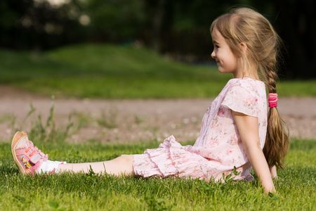 plait: Little girl in outdoor settings
