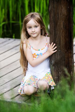 innocence: Little girl in outdoor settings
