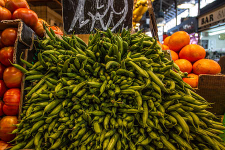 Fruits and vegetables stall in La Boqueria, BARCELONA (SPAIN) photo
