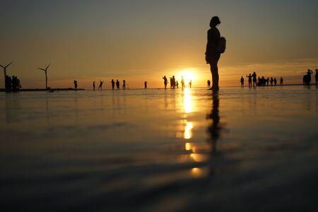 Gaomei Wetland under sunset