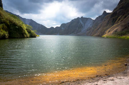 a beautiful volcanic lake in the crater of mount Pinatubo on the island of luson Philippines the largest known eruption in the 20th century 스톡 콘텐츠