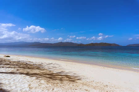 without people: the white sand on the beach Palawan Philippines without people Stock Photo