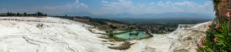 pamuk: Terraces of Pamukkale, a natural mineral spring hot water coming out of the mountains. Turkey