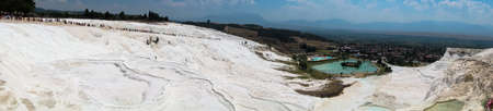 pamuk: panorama Terraces of Pamukkale, a natural mineral spring hot water coming out of the mountains. Turkey Stock Photo