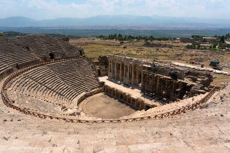 past civilizations: Amphitheater in ancient Hierapolis, Pamukkale, Turkey.