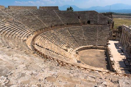 hierapolis: Amphitheater in ancient Hierapolis, Pamukkale, Turkey.