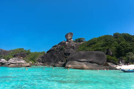 similan islands: transparent clear water on the island, the Similan Islands in Thailand in the Indian ocean