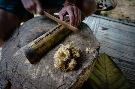 flint: flint. man makes fire. tert wooden ignition