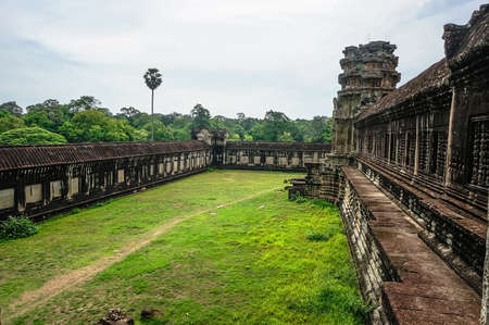 lost city: the backyard of the main temple in the temple complex Angkor Wat. The ancient stone temple of the Khmer civilization in the lost city