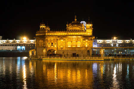 Golden Temple, Harmandir Sahib, at night in Amritsar, Punjab