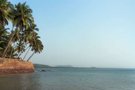 View of beautiful tropical deserted beach. The beach in South Goa, India Stock Photo