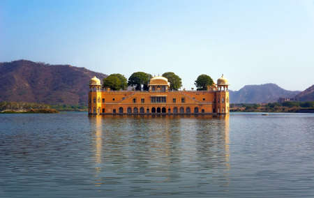 sagar: The palace Jal Mahal. Water Palace was built during the 18th century in the middle of Man Sager Lake. Jaipur, Rajasthan, India.
