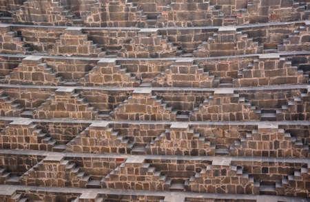 abhaneri: The steps of the Chand Baori Stepwell in Abhaneri, Rajasthan, India.