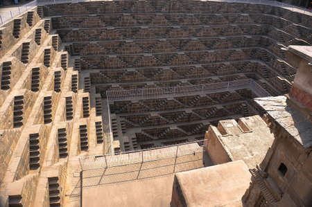 baori: Chand Baori - speed the well, the construction of ancient architecture. near the Church in the town Abhaneri, Jaipur, Rajasthan and it is one of the deepest step wells in India. Editorial