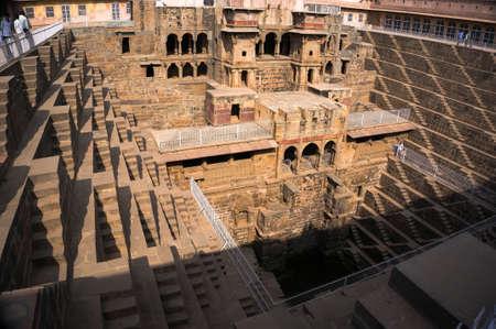 chand baori: Giant stepwell of abhaneri in rajasthan, india