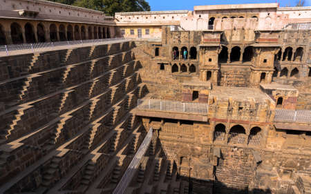 abhaneri: Chand Baori - speed the well, the construction of ancient architecture. near the Church in the town Abhaneri, Jaipur, Rajasthan and it is one of the deepest step wells in India. Editorial