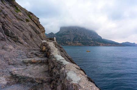steep: Crimean seascape with mountains, coastline and blue sea