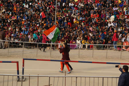 punjab: Show the closure of the border between India and Pakistan. Ceremony from India. Wagah, India, March 30, 2017 Editorial