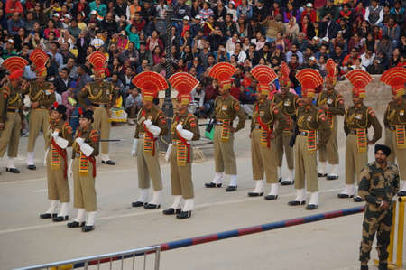 Show the closure of the border between India and Pakistan. Ceremony from India. Wagah, India, March 30, 2017 Editorial