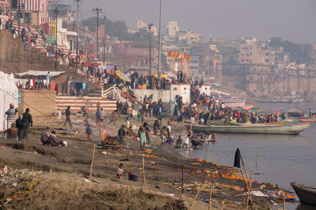 typical day on the banks of the river Ganges Editorial