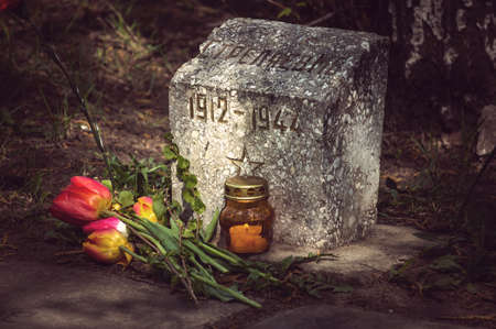 vested: Burning candle and flowers tulips vested at the monument to the Soviet soldier of the red army who died during the second world war. Stock Photo