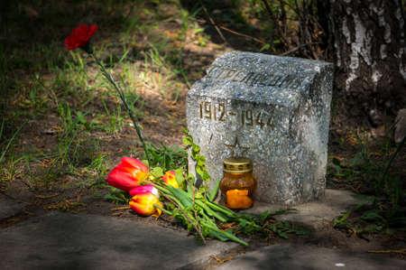 seconda guerra mondiale: Bruciando candele e fiori tulipani conferiti al monumento al soldato sovietico dell'esercito rosso che morì durante la seconda guerra mondiale.