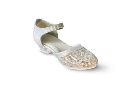 glitzy: White girls shoes with shiny bright gems on a white background Stock Photo