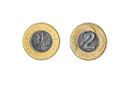 two Polish Zloty coin isolated on white background