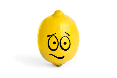A smiley face in the shape of a lemon. Emotional lemon on a white background.