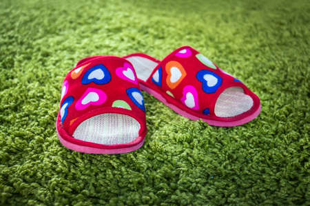 pair of womens Slippers under a warm room light from the window. Pink slippers on green doormat background. The comfort of home. Stock Photo