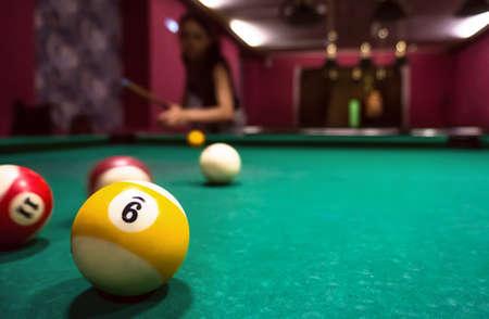 Billiard balls on a pool table, copyspace