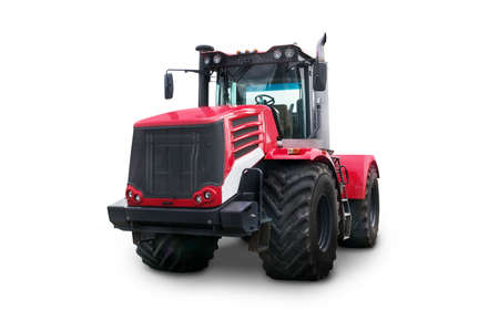 New red agricultural tractor isolated on white background With clipping path. Harvester with big wheels