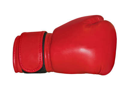 A studio shot of a red boxing glove isolated on white background Stock Photo