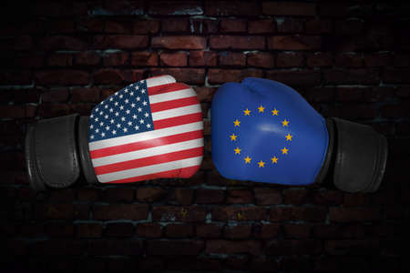 match. Confrontation between the USA and European Union. American, EU, EC national flags on Boxing gloves. Sports competition between the two countries. Concept of the foreign policy conflict.