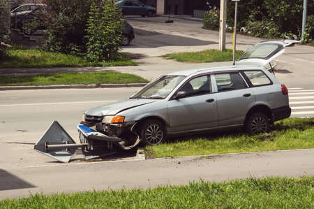 Close accident in front of the car collided with a power pole so severe crash
