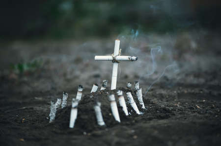 Smoking kills. Death from lung cancer. The dangers of Smoking. Anti tobacco a conceptual photo.