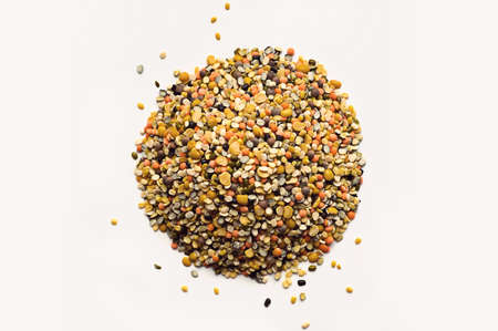 Heap of mixed different types of colorful lentils on white background
