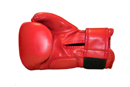 A studio shot of a red boxing glove isolated Stock Photo