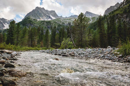 beautiful mountain river with rapid flow. Altai landmark and beauty place. Stock Photo