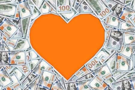Heart shape sign with 100 dollar banknotes. Valentine concept background. core, ticker, million, loving