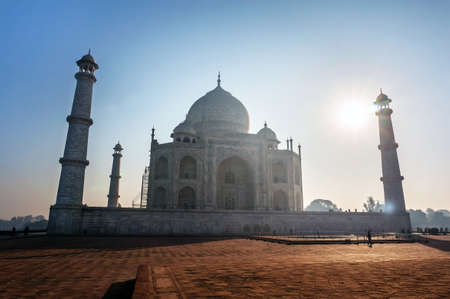 Taj Mahal India Sunset. Agra, Uttar Pradesh. The most famous Indian Muslim mausoleum in Agra in India Wonderful landscape. Stock Photo
