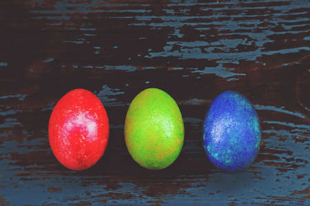 Colorful Easter Eggs arranged Stock Photo