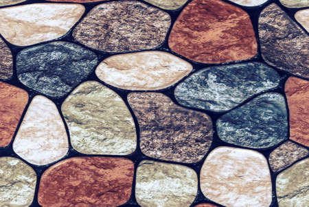 Seamless texture of rounded multi-colored marble stones. Stone wall finish with rounded edges Banco de Imagens - 98228896
