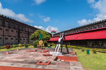Port Blair, Andaman Islands. India. January 12, 2018: Statue of an Indian political prisoner in the Cellular Jail where British subjected Indian freedom fighters to inhuman torture and mass killing.