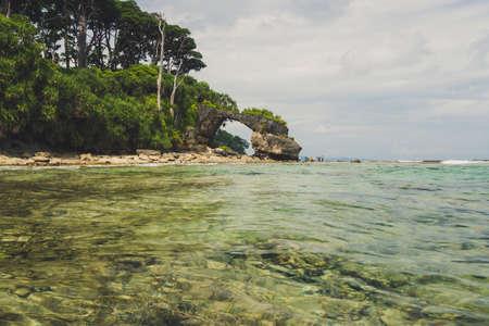 Neil island at Andaman and Nicobar archipelago, natural stone bridge on the sea coast, India 스톡 콘텐츠