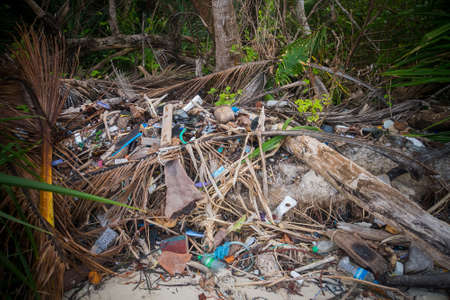 Pile of wood and plastic bottles waste and debris floating on water surface at river water dirty