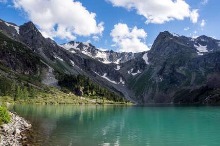Beautiful mountain near Multinskoe lake with clear water in the Altai Republic Siberia Russia