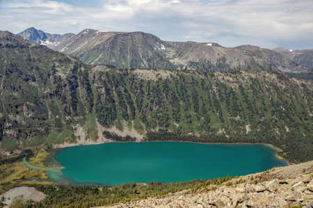 very beautiful mountain lake with clear turquoise water, Russia Siberia Altai mountains