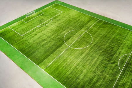 a real soccer field with lines on grass. Top view at an angle